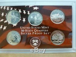 1999-2009 Silver Proof Statehood Quarter 11 Yr 56 Piece Set