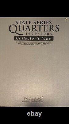 1999-2009 state quarter Complete Silver Proof Set With Wall Map Display