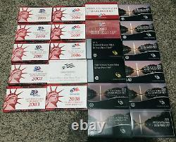 1999-2020 U. S. Mint Silver Proof Coin Sets Complete withState Quarters and more