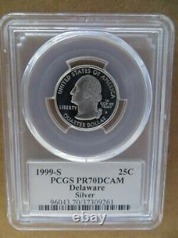 1999 SILVER Delaware, New Jersey, Pennsylvania, GA & CT PCGS PR70DCAM Flag Set