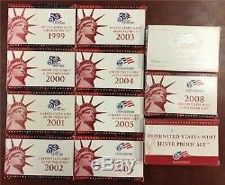 1999-S 2009-S U. S. Silver Proof sets (11 sets)
