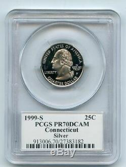 1999 S 25C Silver Connecticut Quarter PCGS PR70DCAM