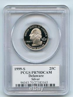 1999 S 25C Silver Delaware Quarter PCGS PR70DCAM