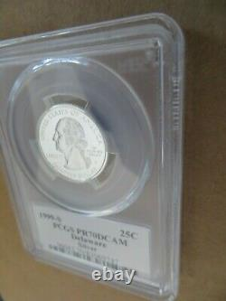 1999-S 25c Delaware SILVER Flag Label Quarter Proof PCGS PR70DCAM