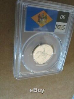 1999-S 25c Delaware SILVER State Flag Label Quarter Proof PCGS PR70DCAM