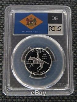 1999-S 25c Delaware SILVER State Flag Label Quarter Proof PCGS PR70DCAM