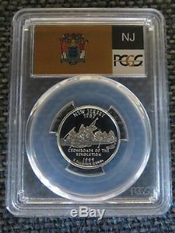 1999-S 25c New Jersey SILVER State Flag Label Quarter Proof PCGS PR70DCAM