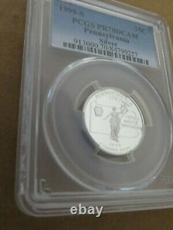 1999-S 25c Pennsylvania SILVER State Blue Label Quarter Proof PCGS PR70DCAM
