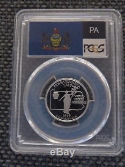 1999-S 25c Pennsylvania SILVER State Flag Label Quarter Proof PCGS PR70DCAM