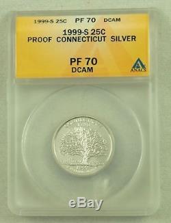 1999-S Complete PF 70 DCAM Silver State Quarter Set Delaware NJ PA CT GA ANACS