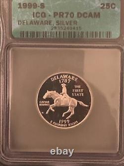 1999-S Delaware State Quarter Silver PR70 DCAM ICG