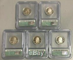 1999-S Proof Silver State Quarters ICG PR70 DCAM. Delaware, Penn, CT, NJ, GA