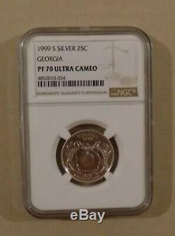 1999 S SILVER 25c STATE QUARTER SET NGC PF70 ULTRA CAMEO 5 COINS DELAWARE PA NJ