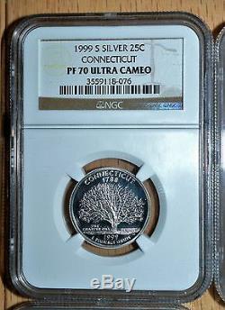 1999-S-Silver/Clad State Quarters, GA, PN, NJ, CN & DEL Pf70 & Pf 69-Lot of 6 Coins