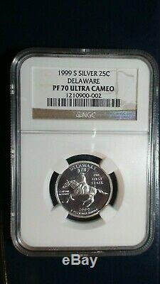 1999 S Silver DELAWARE State Quarter. 25C NGC PF70 Ultra Cameo Scarce Coin