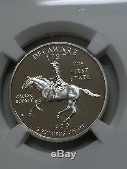 1999-S Silver Delaware 25C NGC PF70 Ultra Cameo State Quarter 4874690-059