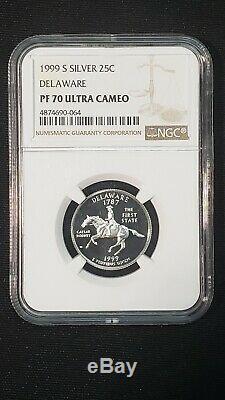 1999 S Silver Delaware NGC PF70 Ultra Cameo