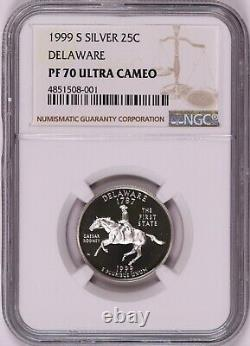 1999-S Silver Delaware US State Quarter NGC PF70 Ultra Cameo KEY DATE