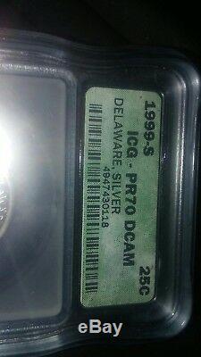 1999 S Silver ICG PR70DCAM Delaware DE State Quarter