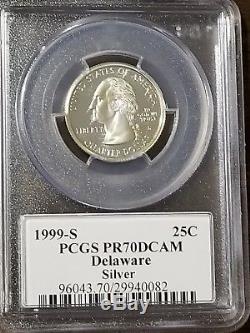 1999 S Silver Proof Quarter! Deleware! Pcgs Pr70! Flag Label! 25c! Us Coin Lot #