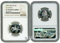 1999 S Silver Quarter 25c Delaware Ngc Pf 70 Ultra Cameo Scale Label