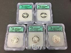1999 S Silver Quarter Set! Dcam! Icg Pr70! 25c! De, Nj, Pa, Ct, Ga! Lot #6181