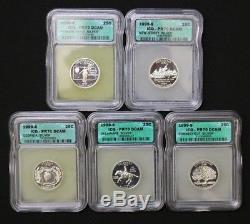 1999-S Silver State Quarter Proof Set ICG PR70 DCAM Delaware DE, PA, NJ, CT, GA