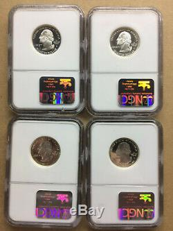 1999 S Silver State Quarters (4) Coins PA, NJ, GA, & CT NCG PF70 Ultra Cameo