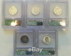 1999-S State SILVER Quarters ICG PR70DCAM Full 5 Coins Including Delaware RARE