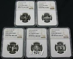 1999 S State Silver Quarter Proof 5 Coin Set Ngc Pf 70