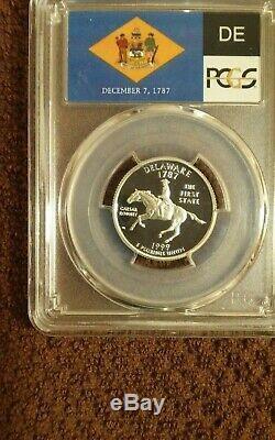1999-S silver Delaware PCGS proof 70 DCAM flag label state quarter
