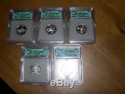 1999 Silver State 5 Quarter Set Icg Pr70 Super Shinny