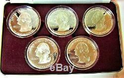1999 Washington Mint 5 (2 Oz each) State Quarter Set Proofs
