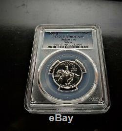 1999-s 25c Pcgs Pr70dcam Silver Delaware Super Key Date State Quarter Free Ship