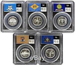 1999-s Silver Pr69 Five State Quarters Pcgs Pr-69 Dcam Set