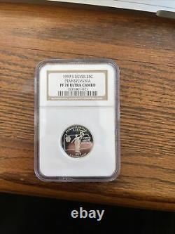 1999-s Silver Proof Pennsylvania State Quarter Ngc Pf70 Ultra Cameo 001021