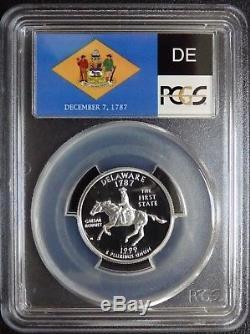 1999-s Silver Washington Quarter Delaware Flag Label Pcgs Pr70dcam