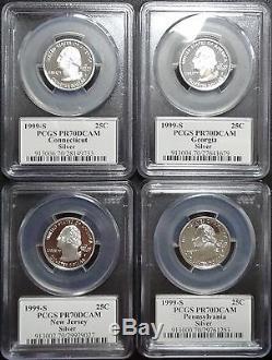 1999-s Silver Washington State Series Quarter Set Flag Labels Pcgs Pr70dcam