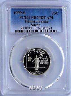 1999-s Silver Washington State Series Quarter Set Pcgs Pr70dcam