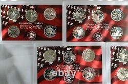 1999 thru 2003 S Proof Silver Quarters 25 Coins 5 Sets No Box No COA 90% Silver