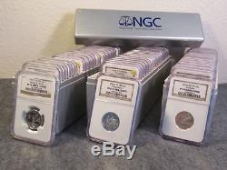 1999 thru 2008 silver state quarter PF69UC set, 50 coins graded NGC in boxes