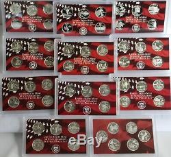 1999 thru 2009 Silver Proof State Quarter Lot 90% Silver No Box or COA 56 Coins