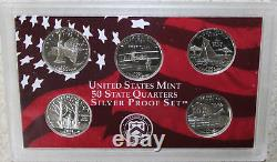 1999 thru 2009 Silver Proof State Quarter Lot Silver No Box or COA 56 Coins