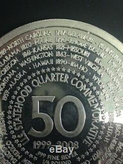 1/4 Pound. 999 Fine Silver Round State Quarter Commemorative