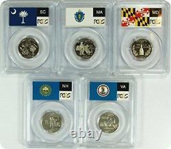 2000 SILVER State Flag 5-Coin (NH MD MA VA SC) Proof Set PCGS PR70 DCAM Quarters