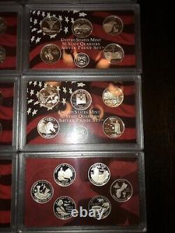2000 S 2009 S Silver Proof State Quarter 10 Year Set 90% Silver Nice