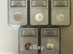 2000 S Complete 5 Coin Silver State Quarter Proof Set NGC Graded PF70 UCAM