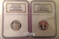 2000 S Silver State Quarters Set NGC PF70 Ultra Cameo Proof Pr70 No Spots/toning