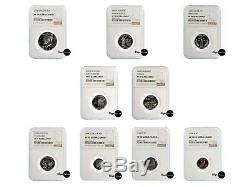 2000 S X9 Silver Set NGC PF 70 UC Proof Coins State Quarters! Rare