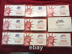 2000 thru 2008 us mint silver coin set